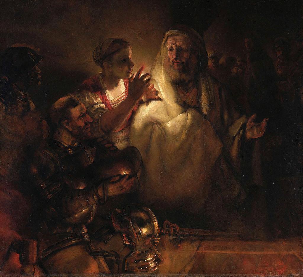 Al traicionar los principios esenciales que le dan forma a nuestra existencia desatamos monstruos que pueden devorar nuestra alma.(En la imagen, La negación de Pedro de Rembrandt, 1660. Esta magnífica pintura se conserva en el @rijksmuseum. Antes estuvo en el @state_hermitage)