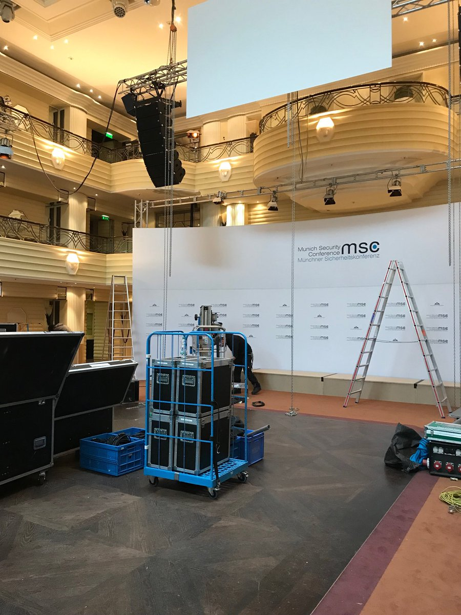 Final preparations under way for upcoming @MunSecConf at the grand old #BayerischerHof. Lots of excitement in the air, still everything looks very much under control thanks to the wonderful #MSC2020 team. #FourMoreDays, friends!pic.twitter.com/KDgfaGM3KK