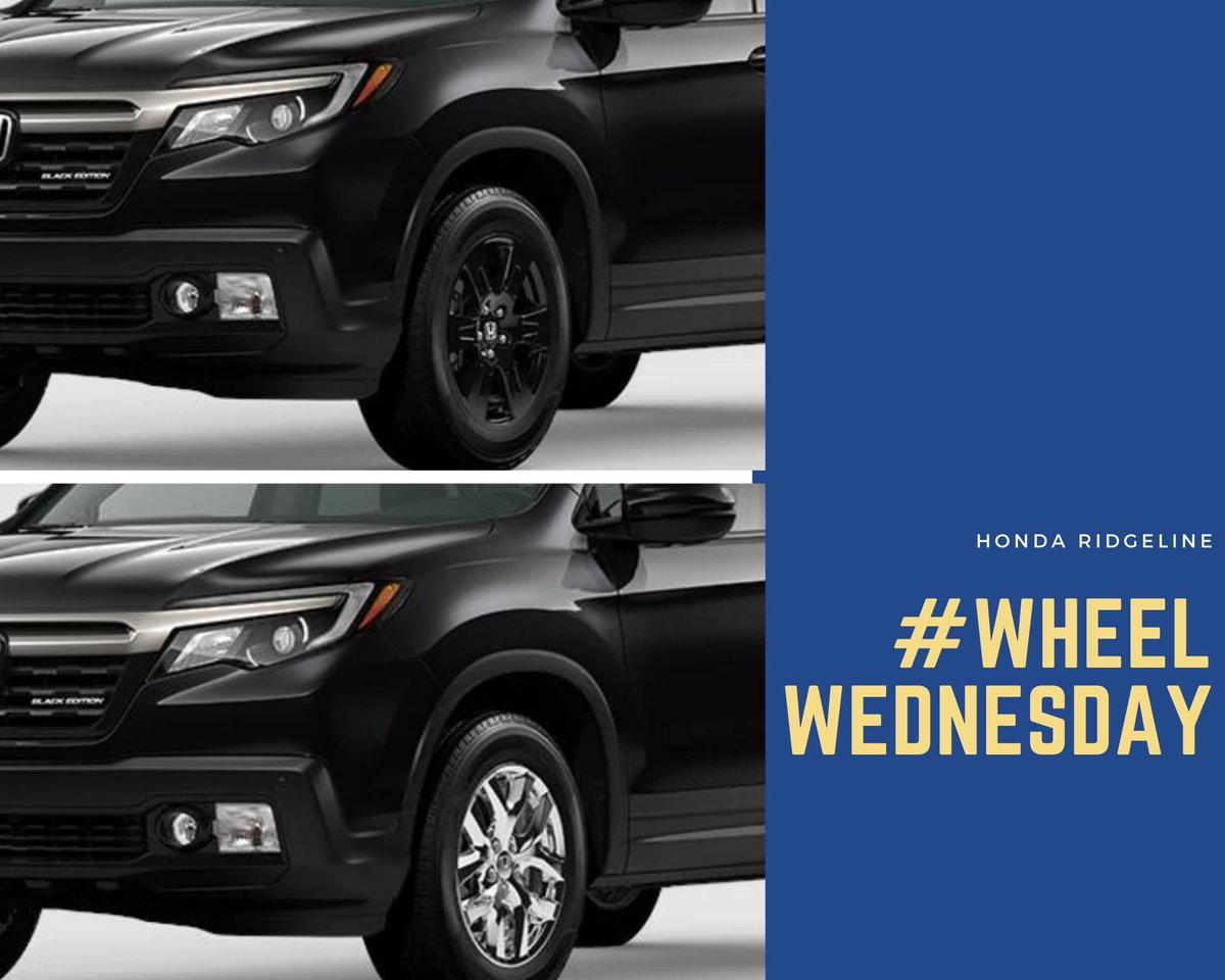 It's #WheelWednesday here at Butler Honda and we want to know which set of wheels you like better on the 2020 #HondaRidgeline Black Edition? #ButlerHonda #Honda #Ridgeline #Chrome #GlossBlack