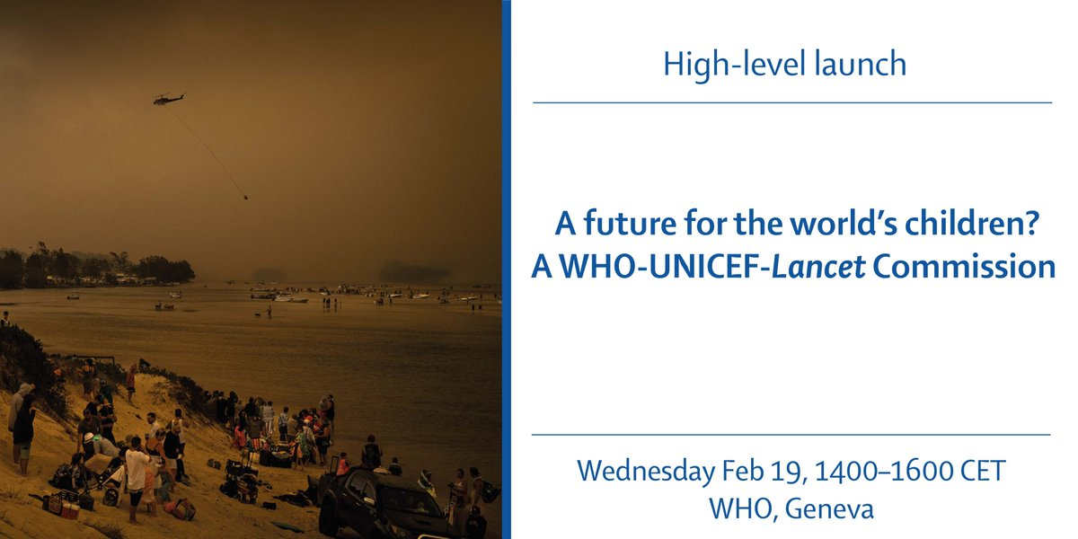 📢 1 week! @WHO @unicef & @TheLancet launch a major new report repositioning every aspect of #childhealth through the lens of our rapidly changing climate & other existential threats📹Watch live https://hubs.ly/H0mYK5x0📅In Geneva? Register https://hubs.ly/H0mYKRL0#FutureChild