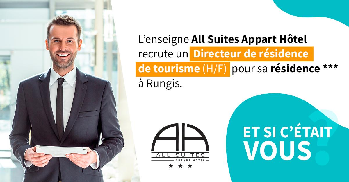 [#EMPLOI / HÔTELLERIE] Vous aimez l' #hôtellerie et la relation client ? Vous aimez fédérer votre équipe grâce à votre leadership? Rejoignez ALL SUITES APPARTHOTEL.✨A la clé : la gestion de notre résidence de #tourisme *** à #Rungis L'offre ici 👉https//bit.ly/37VTCSp https://t.co/tfaQhaj0wh