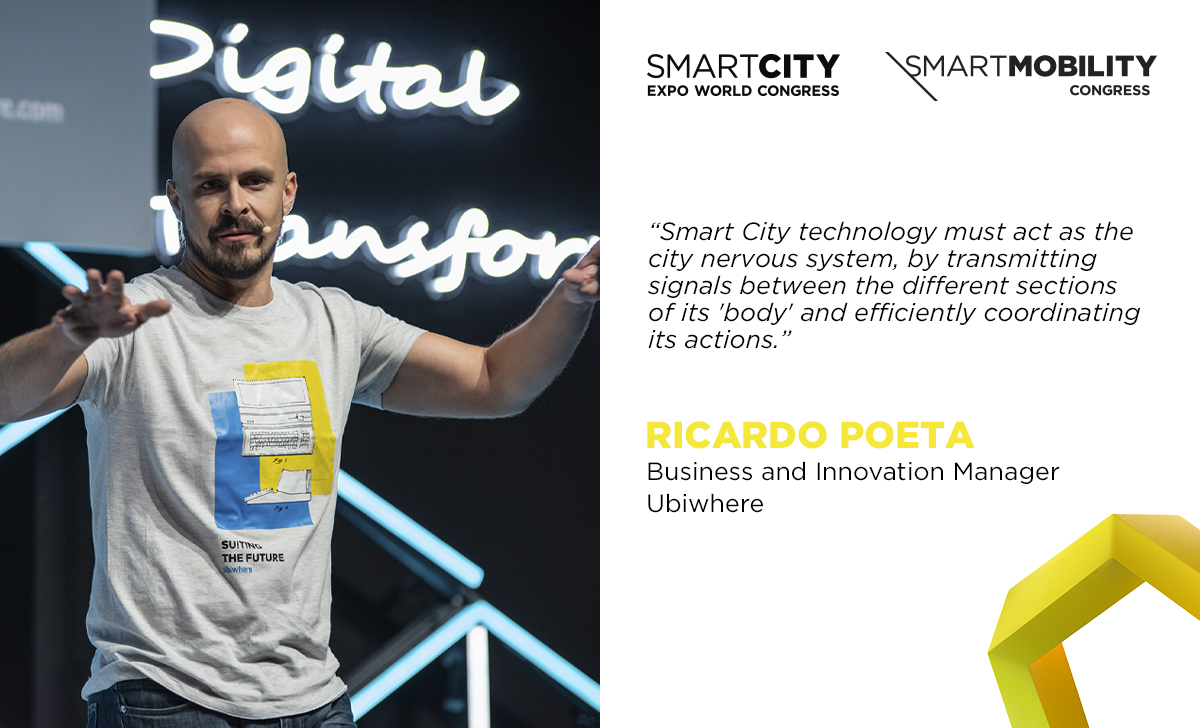 """""""#SmartCity technology must act as the city nervous system, by transmitting signals between the different sections of its 'body' and efficiently coordinating its actions.""""  — Ricardo Poeta, Business and Innovation Manager, @ubiwhere   #SCEWC19 #smartcities #IoTpic.twitter.com/pAbg4Tc02y"""