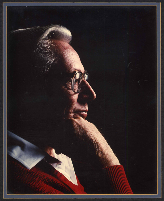 """To create something out of nothing is a wonderful experience."""" In memory of Charles M. Sparky Schulz, creator of Peanuts, who passed away 20 years ago today. November 26, 1922–February 12, 2000. [📷: Schulz in profile, c.1990. Photographer unknown.]"""