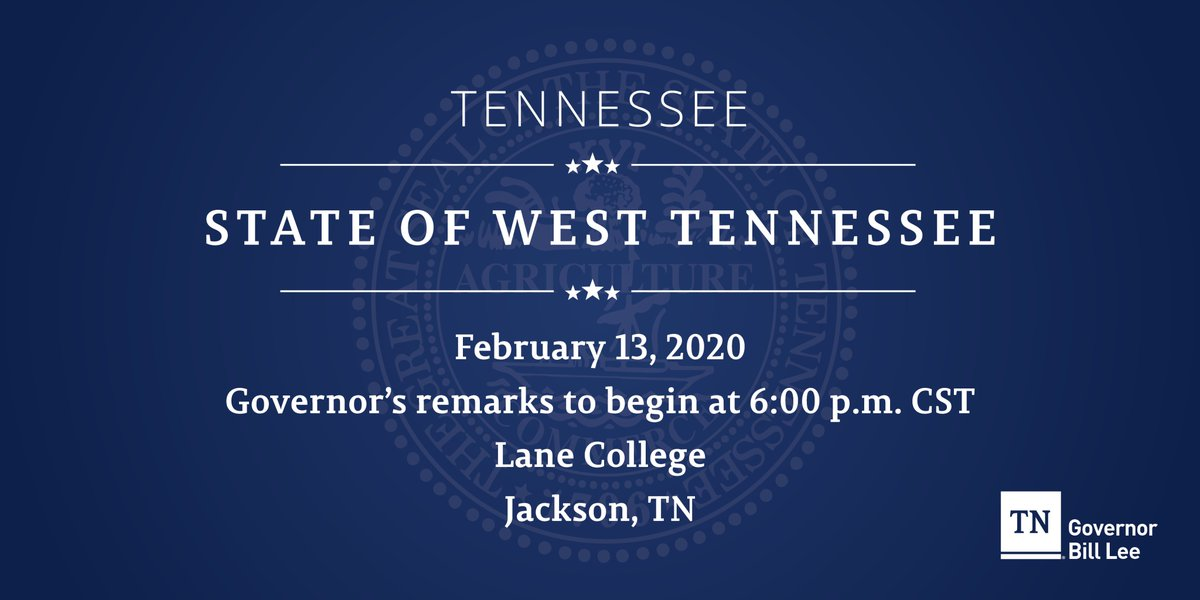 Next stop: Jackson, TN I'm headed to West Tennessee tomorrow to deliver my regional #TNSOTS address. If youd like to join us at @thelanecollege, register here: tn.gov/governor/sots/…
