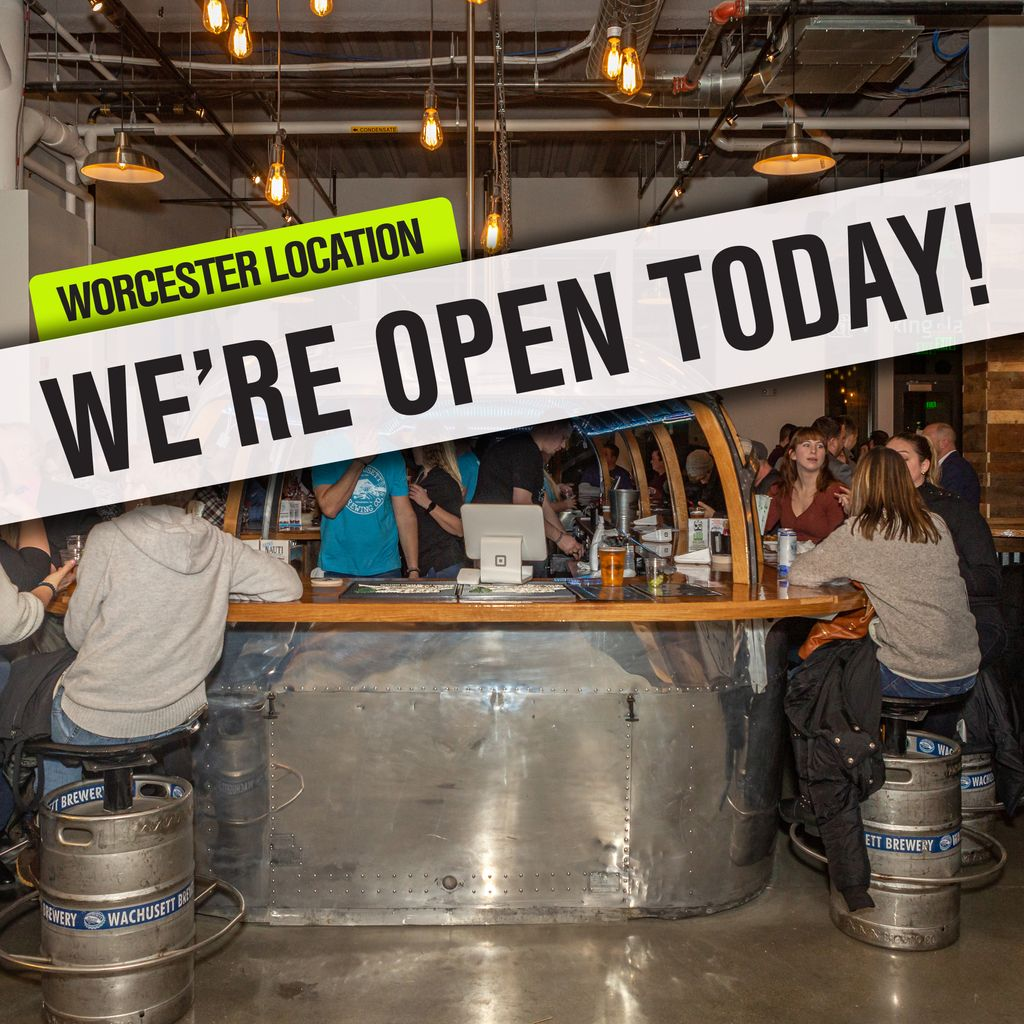 Our NEW Worcester location is open today!  Stop by and visit our Brew Yard located inside the @WooPublicMarket today from 11am - 10pm.  Our hours for the rest of the week are Thursday 11am - 10pm , Friday & Saturday 11am - 11pm, & Sunday 11am - 10pm.