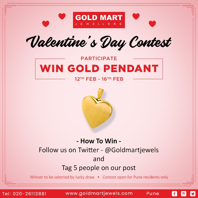 Participate in our #ValentinesDayContest and get a chance to win a heart shaped gold pendant! Follow us on Twitter & tag 5 or more friends on our post. #Contest #ValentinesDay #Couples #Love #Diamond #Gold #Jewellery #Him #Her #Jeweller #Shopping #Lifestyle #Pune @sangeetagold