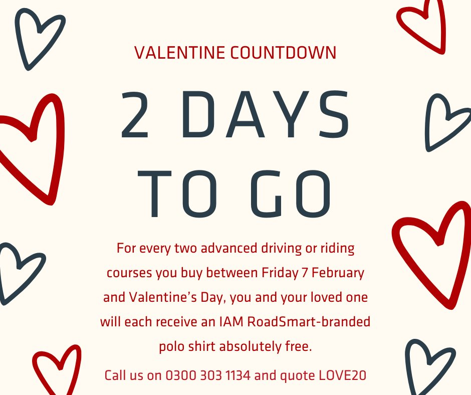 Our exclusive Valentine's offer is ending on Fri 14 Feb! For every two Advanced Driver or Rider Courses you buy in the next couple of days, you will receive two free personalised IAM RoadSmart polo shirts.   https://www.iamroadsmart.com/media-and-policy/newsroom/news-details/2020/02/07/things-are-better-when-done-together-start-your-iam-roadsmart-journey-this-valentine-s-day …   #ShareTheLove #LoveYourJourney #BetterTogetherpic.twitter.com/oQhqbMV1sb
