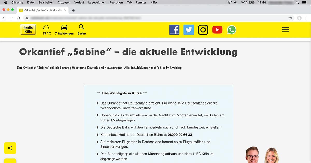 """NRW Lokalradio Websites performen auch bei starkem Anstieg der Zugriffe aufgrund von Sturmtief """"Sabine"""" schnell und zuverlässig: http://www.contens.de/sturmerprobt  #Sturmtief #sturmsabine #lokalradio #radionrw #radiokoeln #CMS #CONTENSpic.twitter.com/XymxMlwcoU"""