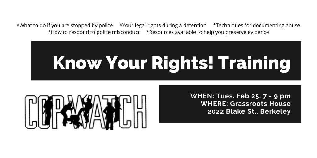 Know Your Rights Training @ Grassroots House