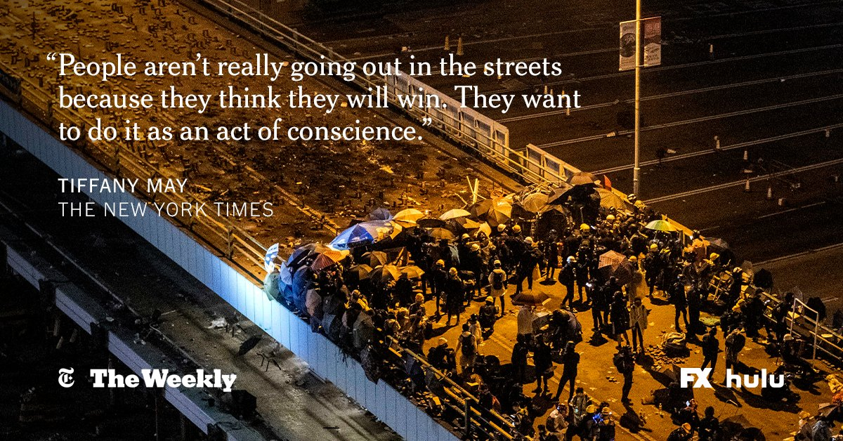 """It's a David and Goliath type of fight,"" @nytmay tells #TheWeeklyNYT. But Hong Kong protesters ""want to do this for the history books."" https://nyti.ms/3bzWZ3h"