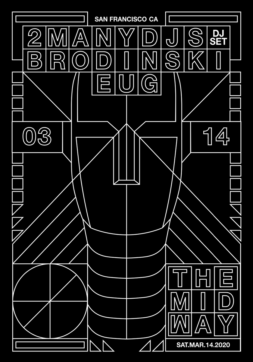 We're djing @Themidwaysf  on Saturday 14th March 2020 with @Brodinski and #Eug(Public Release) Tickets go on sale Friday @ 10am PST