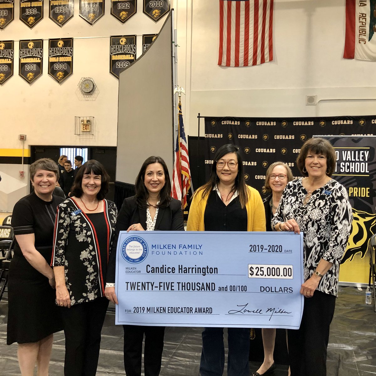 Congratulations to Mrs. Candice Harrington! The @capovalleyhs math teacher was presented with the @milken #MilkenAward and $25,000 during a surprise assembly this morning! <br>http://pic.twitter.com/Fqji5wjvAj