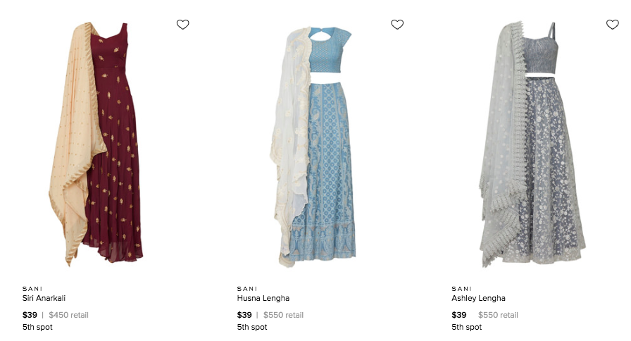 So interesting: Rent the Runway is testing Indian formalwear! As of today, there are two lehengas and an anarkali available for rent on the site & could be more eventually. From a brand called Sani: https://www.renttherunway.com/pages/designers/sani/products…