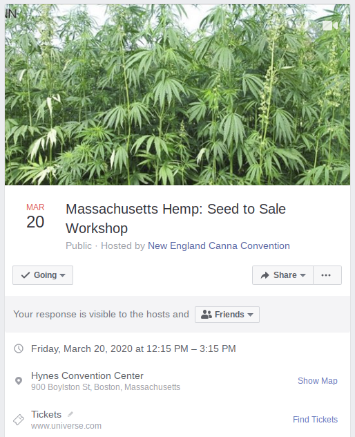 ICYMI: Kick off #NECANN20 with a Seed-to-Sale  Workshop at the @HynesBeacon w/ @WhatDidAdam_Say and more!  RSVP/Share/Comment https://www.facebook.com/events/1854729411318577/…  Tickets (Save $20): https://www.universe.com/2020necannhemp #cannabiscommunity #hemphelps #Mapoli #farming pic.twitter.com/4DEmQfAsh9