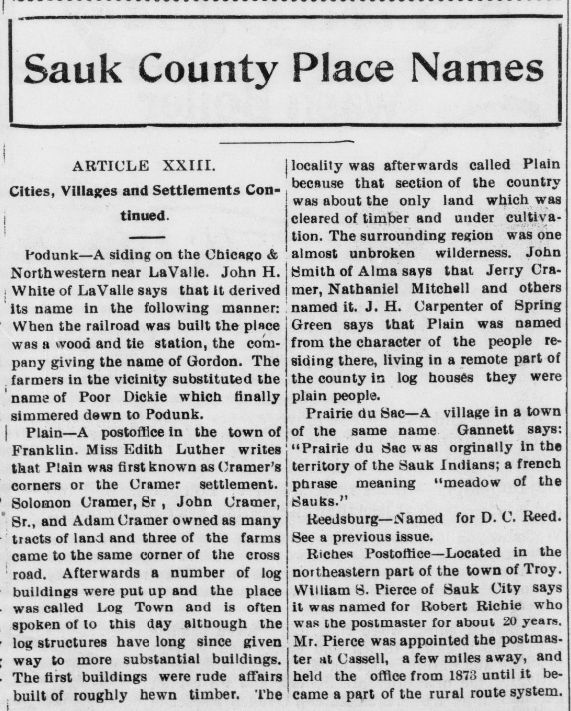 """The alleged origins of Sauk County place names """"Plain was named from the character of the people residing there [...] they were plain people"""" #ChronAm http://ow.ly/bHFI50y99Uj #Wisconsin #WisconsinNews #WisconsinHistorypic.twitter.com/NvADkDeAHQ"""