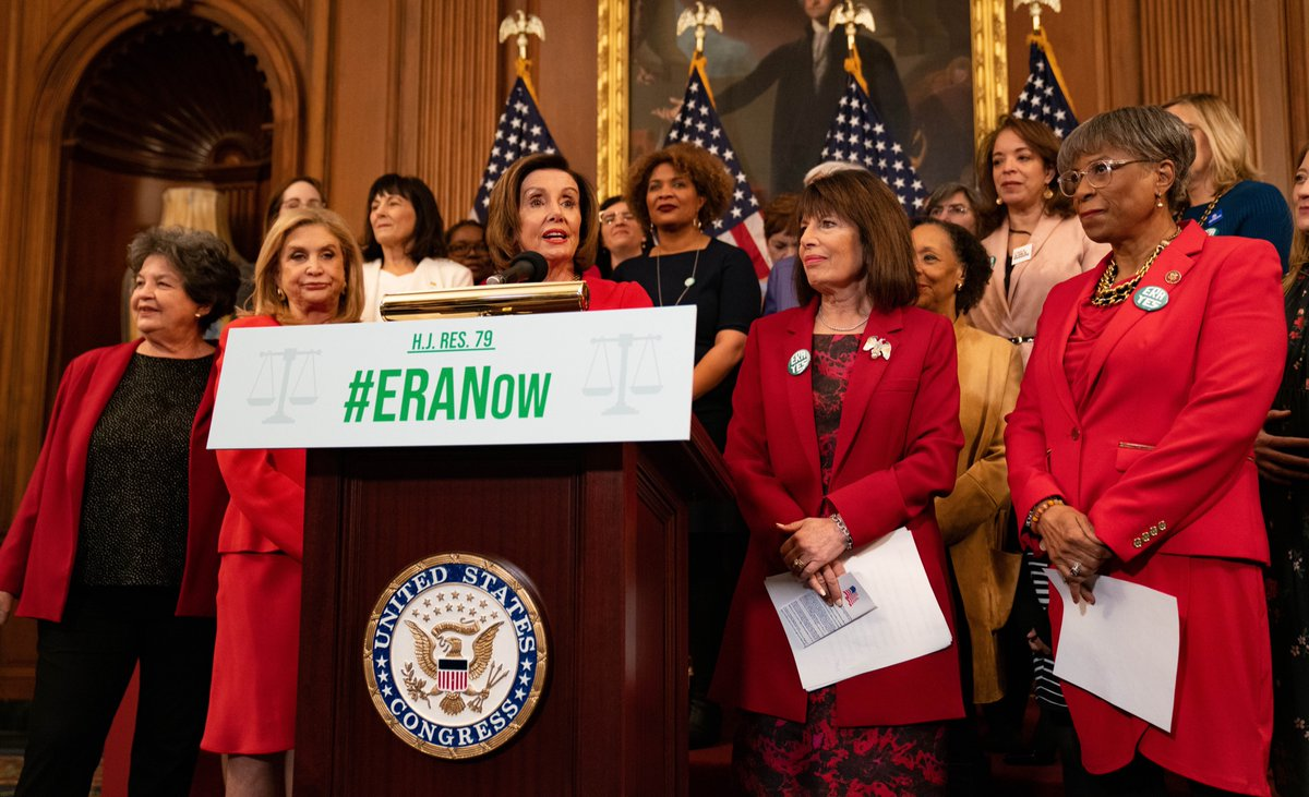 Across the country, millions of women have raised a drumbeat for ratification of the Equal Rights Amendment. Tomorrow, the House will pass legislation to remove the ratification deadline for the ERA and bring it closer to taking effect. #ERANow