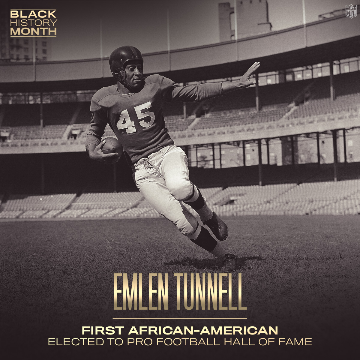 "NFL on Twitter: ""In 1967, Emlen Tunnell became the first African-American  player elected to the @ProFootballHOF. #BlackHistoryMonth… """