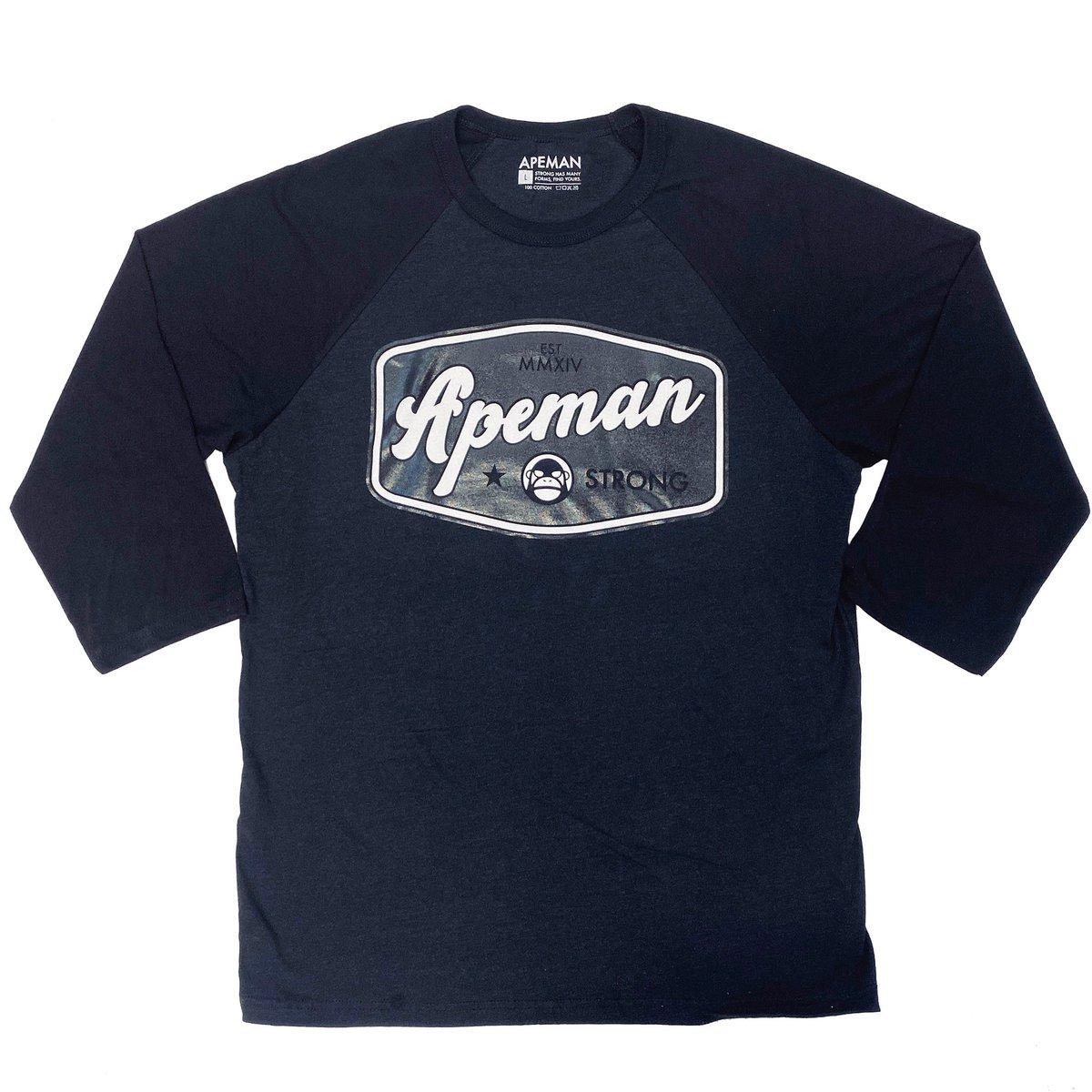 New Baseball Tee. Black and charcoal, black and white print. apemanstrong.com/hoodies/est-ba…