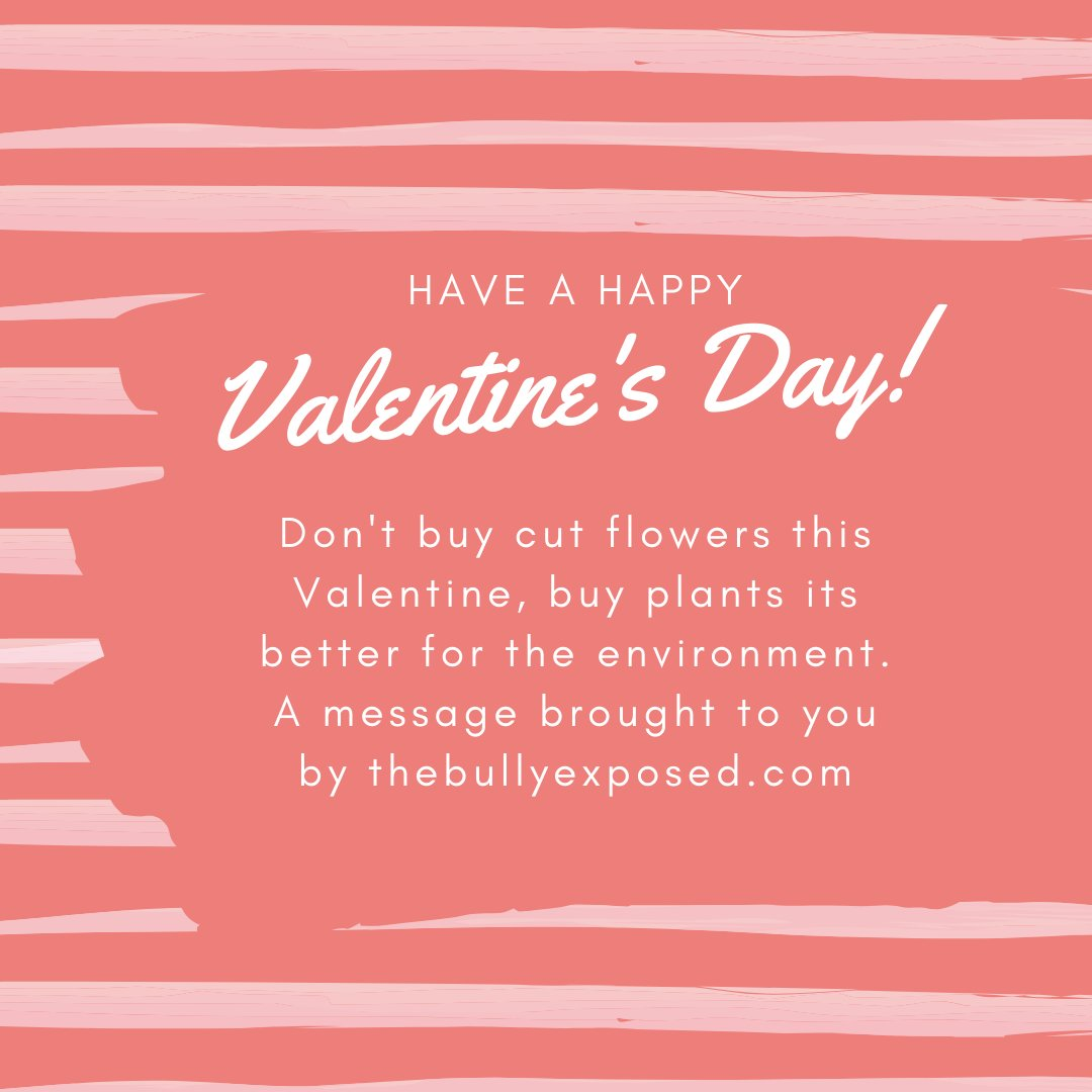 Don't buy cut flowers this Valentine, buy plants it's better for the environment. A message brought to you by http://thebullyexposed.com  Follow @thebullyexposed & put an end to bullying together #stopworkplacebullying #thebullyexposed #againstbullying #bullygram #environment #greenpic.twitter.com/RWv508tcKV