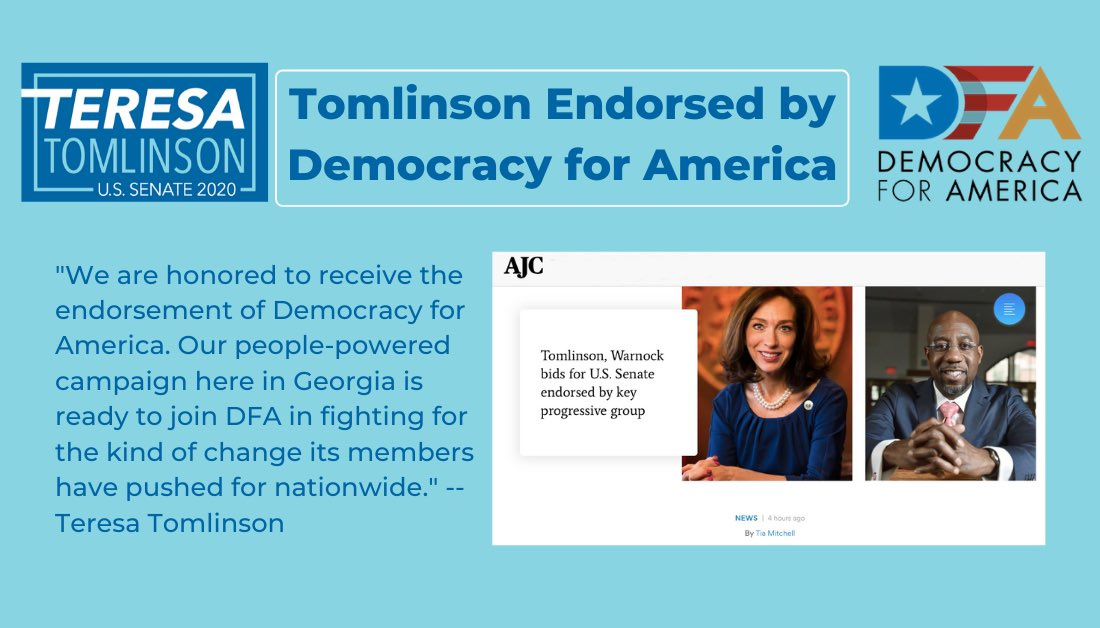 Did you hear? Teresa was endorsed today by @DFAaction! LIKE AND SHARE >>