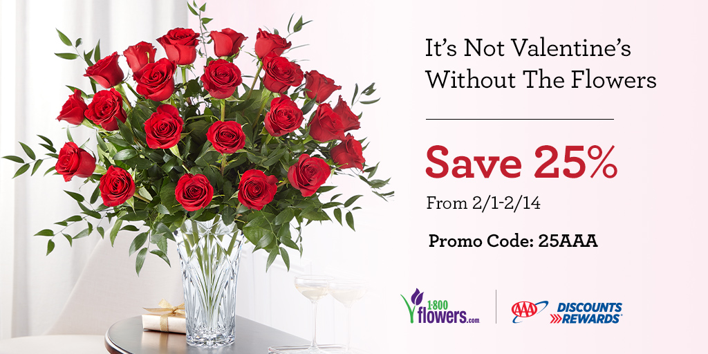 It's not Valentine's without @1800Flowers. From classic red roses to bouquets of passionate pinks and purples, they have everything you need. Use your #AAADiscounts to save 25%* on your purchase. *Offer available 2/1 - 2/14/20.