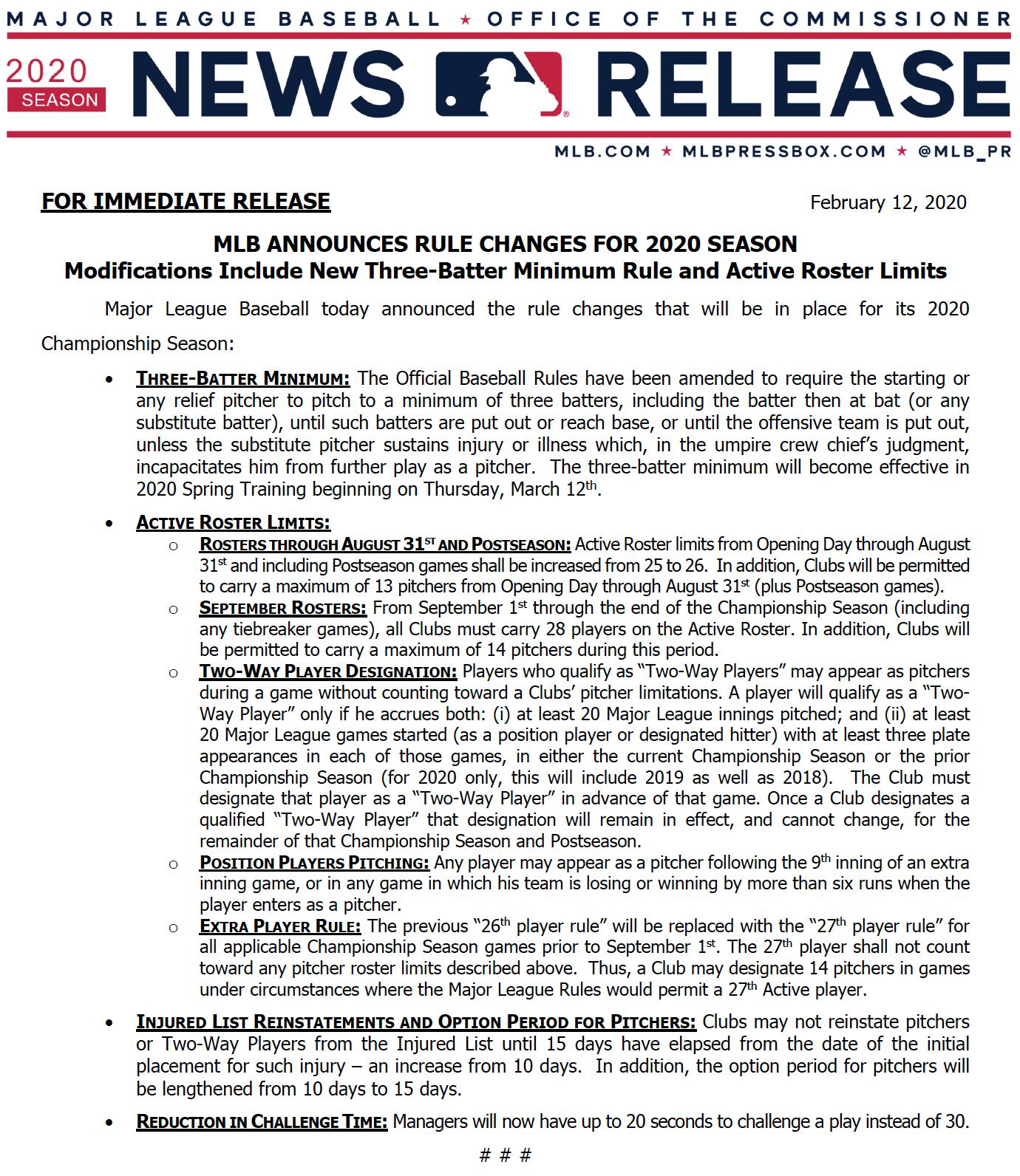 El documento oficial de MLB donde habla del cambio en las reglas.