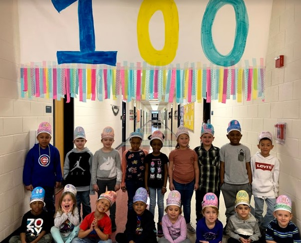Mrs. Wilson's K class celebrates the 100th Day of School!