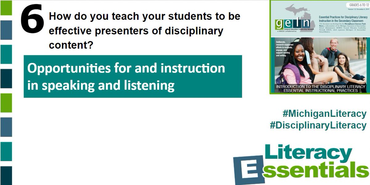 Q6:How do you teach your students to be effective presenters of disciplinary content? #MichiganLiteracy #DisciplinaryLiteracy<br>http://pic.twitter.com/iA6p7H2STS