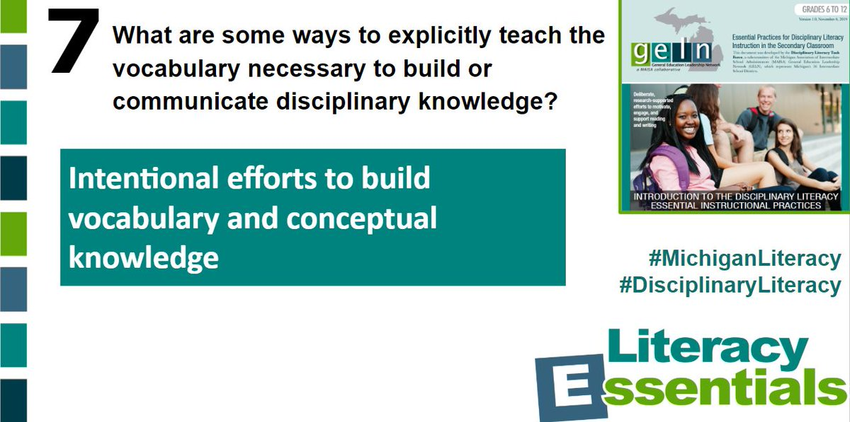 Q7:What are some ways to explicitly teach the vocabulary necessary to build or communicate disciplinary knowledge? #MichiganLiteracy #DisciplinaryLiteracy