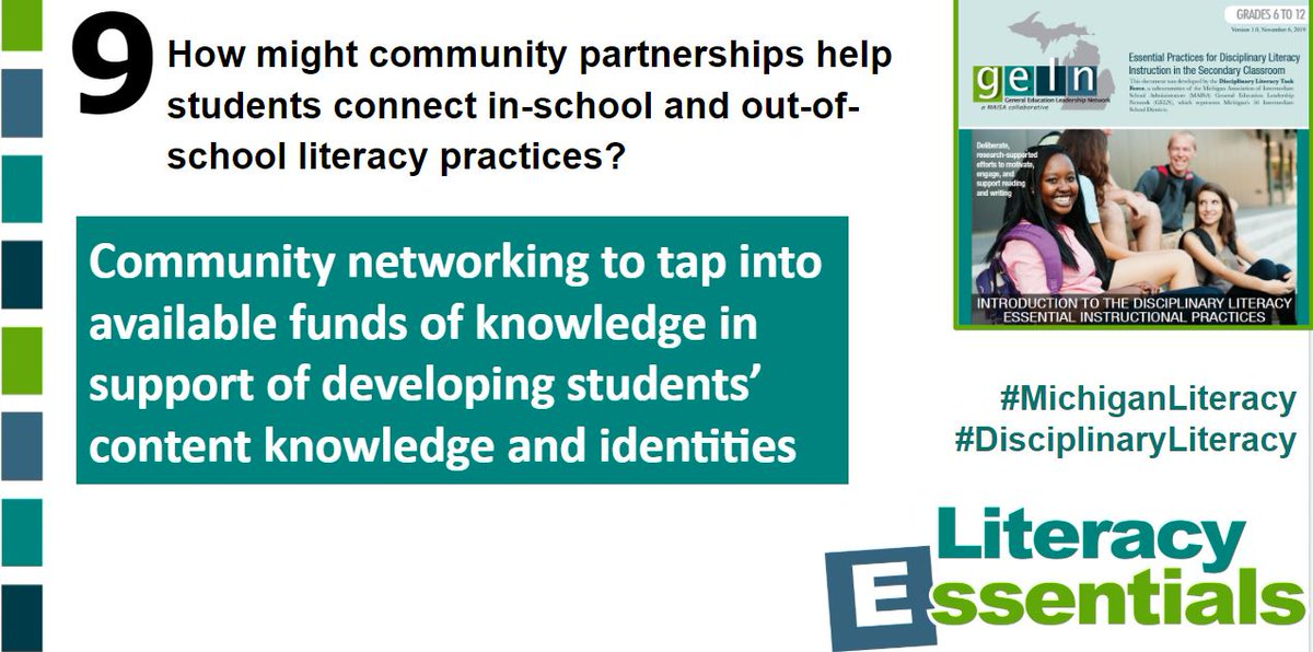 Q9: How might community partnerships help students connect in-school and out-of- school literacy practices? #MichiganLiteracy #disciplinaryliteracy<br>http://pic.twitter.com/kp5GNWKQPy