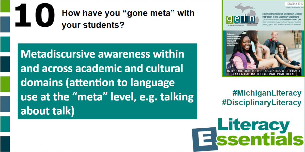 "Q10: How have you ""gone meta"" with your students? #MichiganLiteracy #DisciplinaryLiteracy<br>http://pic.twitter.com/rlehxodMwo"