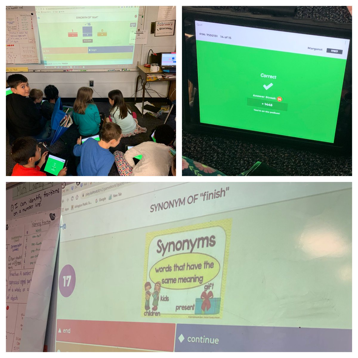 During morning meeting we practiced synonyms through the use of our favorite new app! <a target='_blank' href='http://twitter.com/GetKahoot'>@GetKahoot</a> <a target='_blank' href='http://twitter.com/CampbellAPS'>@CampbellAPS</a> <a target='_blank' href='https://t.co/xY0lknQKGL'>https://t.co/xY0lknQKGL</a>
