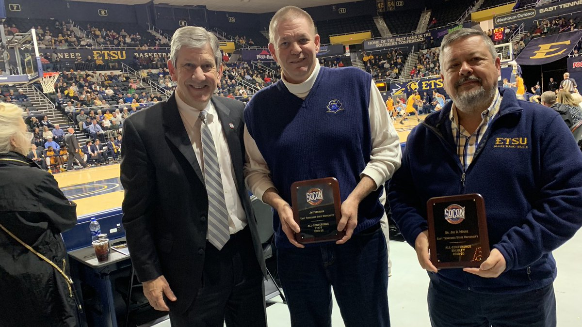 Proud to present the SoCon staff award for ETSU to Jay Seehorn and the faculty award to Dr. Joe Moore. Thanks fellas for all you do for ETSU! @etsu  @ETSUAthletics