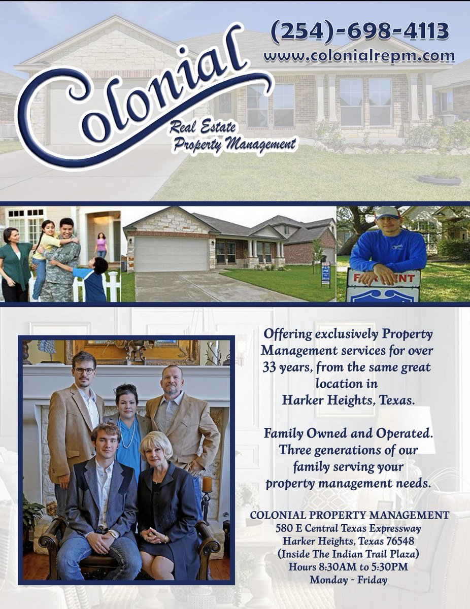 #colonialpropertymanagement looking for a #local #propertymanager in the #forthoodtx #harkerheightstx #killeentx #copperascovetx #nolanvilletx and surrounding areas? Contact #colonial at 254-698-4113 http://colonialrepm.com #rental #homesforrentpic.twitter.com/SsJIEPuLEj