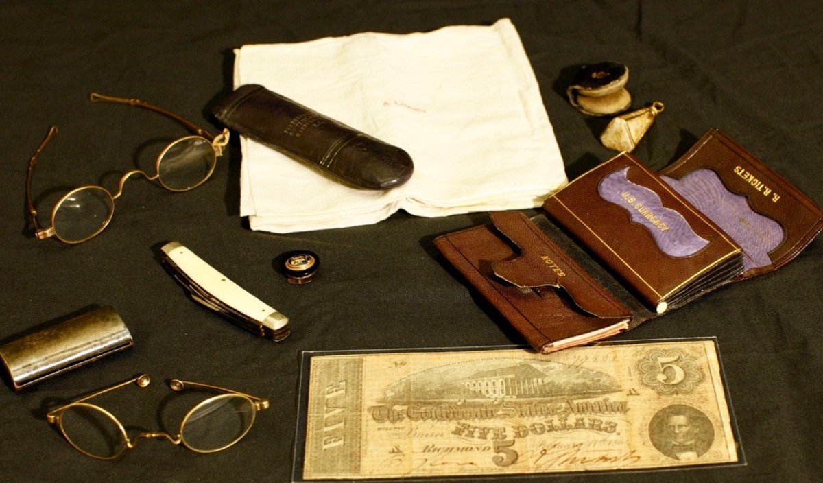Contents of Abraham Lincoln's pockets at moment of assassination, 1865, Ford's Theatre—not shown to public for 111 years: