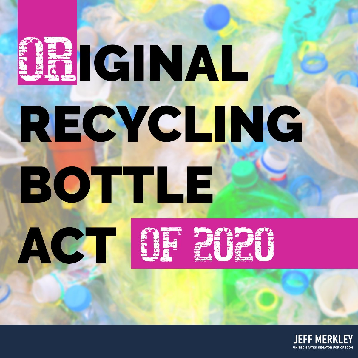 """Leave it to Oregon to lead the way on reducing plastic pollution in our communities, bodies, & environment! Proud to team up w/ @RonWyden to bring a """"bottle bill"""" (modeled off of our own state's incredibly successful program) to the rest of the nation."""