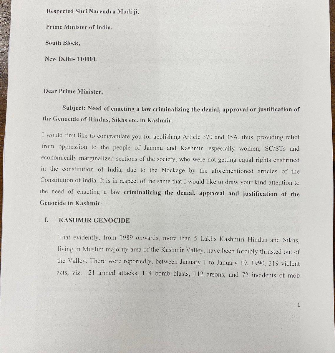 RT @ishkarnBHANDARI: My letter to Hon'ble PM @narendramodi & HM @AmitShah on NEED to make law criminalising whitewashing of KASHMIR GENOCIDE by journalist, Bollywood etcRetweet if u agree1/2