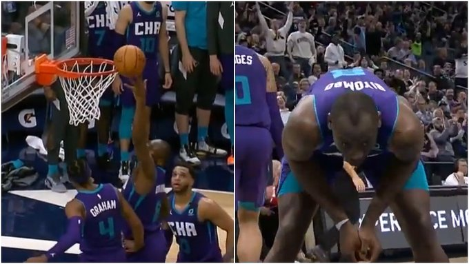 【影片】烏龍球!比分焦灼關頭,Biyombo爭搶籃板時將球點進自家籃筐,這一失誤讓他十分懊悔!