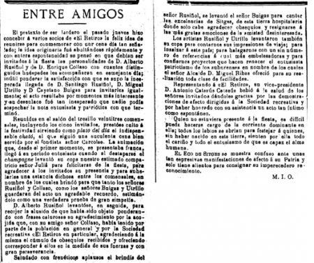#TalDiaComAvui del 1896 era Dijous Gras i al @ElRetiroSitges hi va haver xatonada, amb l'assistència de Santiago Rusiñol, Miquel Utrillo i Gaietà Buïgas, entre d'altres. A la crònica que va fer @lecodesitges, 'Entre amigos' hi ha la referència més antiga del mot 'xató' a #Sitges.