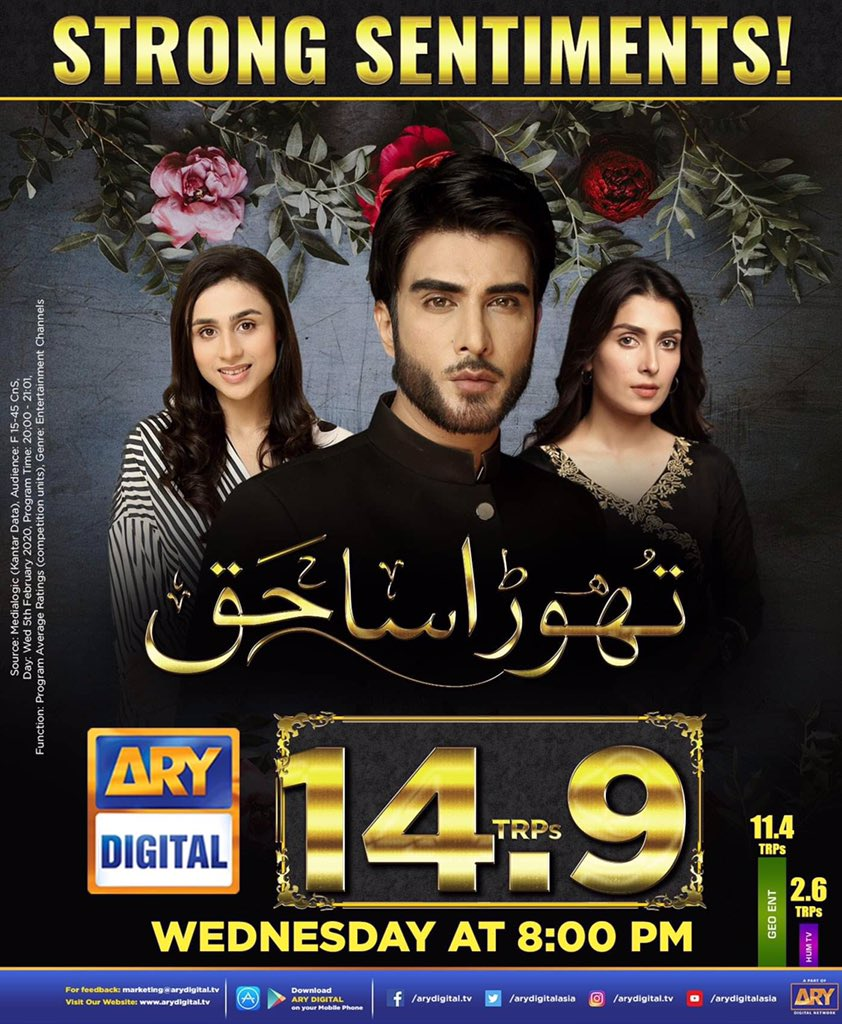 Strong Sentiments! Thank you viewers' for all the love for #ThoraSaHaq on #ARYDigital. Keep watching ARY Digital. pic.twitter.com/27FOnNuHFu