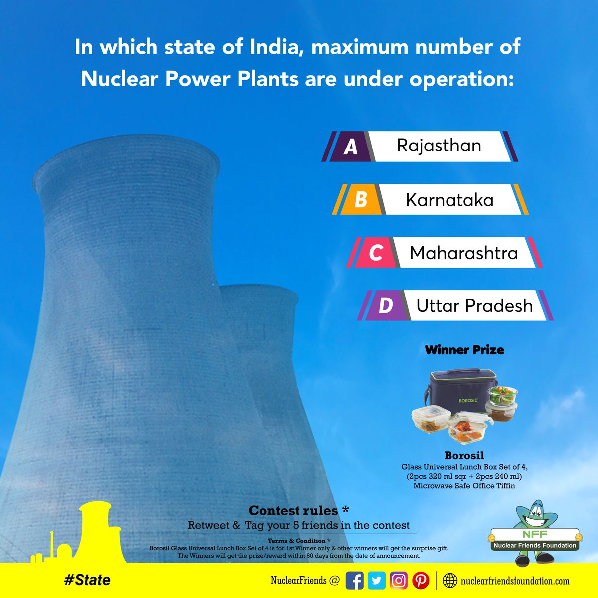 #ContestAlert Answer this simple question and get a chance to win #State contest.  Reach us @ http://nuclearfriendsfoundation.com  #Contest #like #RT #comment #chance #Win #prizes #Today #goodluck #giveaway #competition  #ContestEntry #entertowin #giveaways #FridayFeeling @india4contests