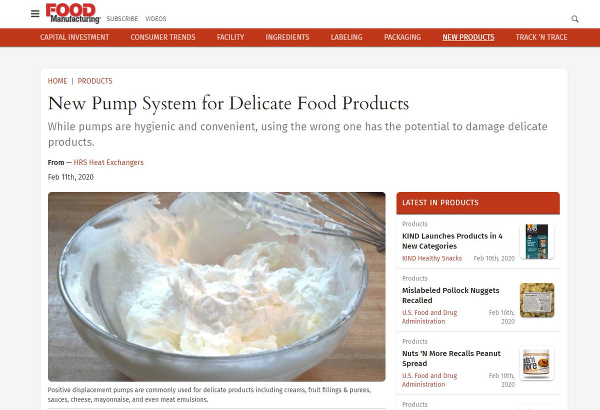 "test Twitter Media - HRS pump is featured in @FoodmfgNews : ""New Pump System for Delicate Food Products"". While pumps are #hygienic and convenient, using the wrong one has the potential to damage delicate products. Rad more: https://t.co/YCKE1rb7rI #foodsystems #foodpump #foodprocessing https://t.co/GnHfMqCvUO"
