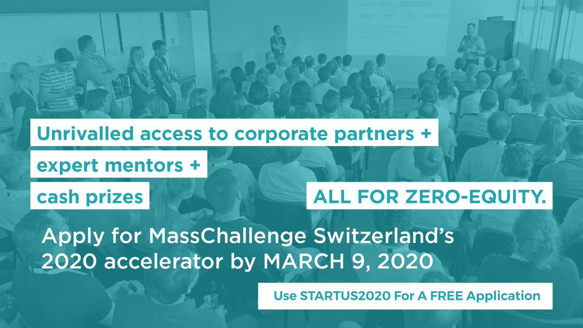 Access to corporates, mentoring from 600+ experts & CHF 1 Mio in cash prizes - 0 equity taken - sounds too good to be true? 🚀 Apply for @MassChallenge by 9 March & use STARTUS2020 for $99 OFF the application fee! 👉  #Energy #Manufacturing #Food #3DPrint