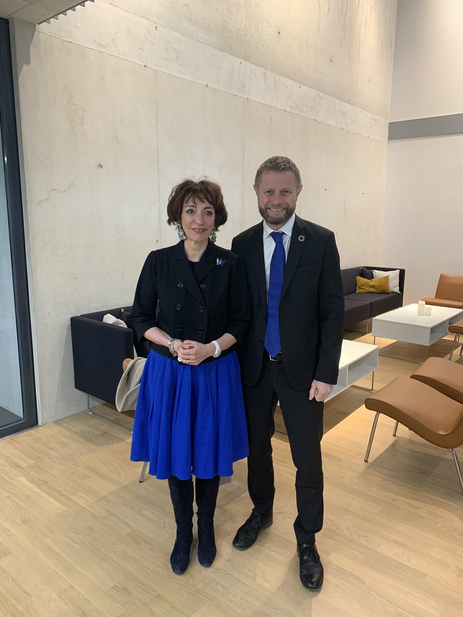 Rencontres pendant deux jours avec les autorités norvégiennes, membre fondateur d'@UNITAID  et partenaire engagé sur la santé mondiale. Heureuse de revoir mon ancien collègue @BentHHoyre  .