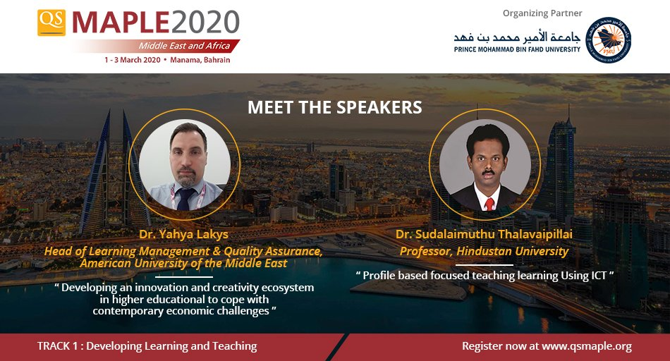 We welcome Dr Yahya Lakys from @Official_AUM  and Dr Sudalaimuthu Thalavaipillai @honeybeeinlion from @HindustanUniv as #QSMaple2020 speakers!  Less than 3 weeks to go, reserve your seat before registration closes: http://bit.ly/qsmaple2020 pic.twitter.com/TcSIzTG52l
