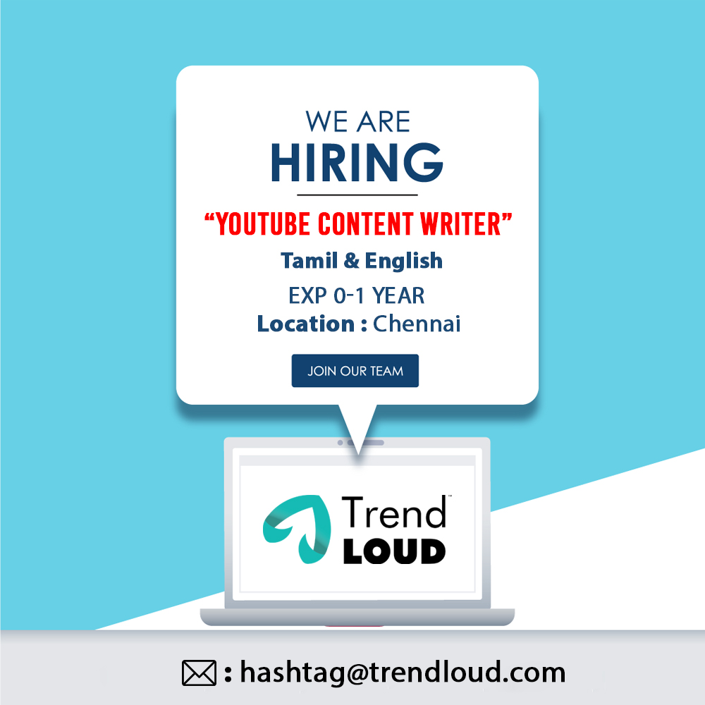 Are you someone who can write content that will make things trend on YouTube? We are looking for you! Do send in your resume to us! #Hiring #TrendLoud #Youtube https://t.co/tJWdET8rif