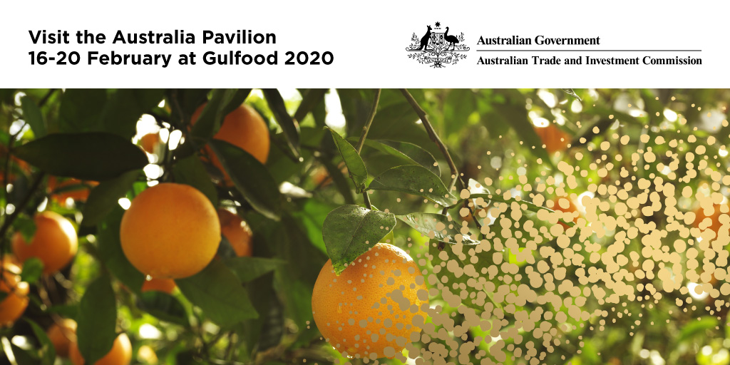 Australian #FoodandAgri exports to #MENA are valued at A$3.4 billion making it a key sector for the region. 80 Australian exhibitors will be participating @Gulfood across #Meat #Dairy #WorldFood #Beverages halls. Visit #AustraliaPavilion & also meet our teams from #GCC #SouthAsiapic.twitter.com/vqUsBLhhNJ