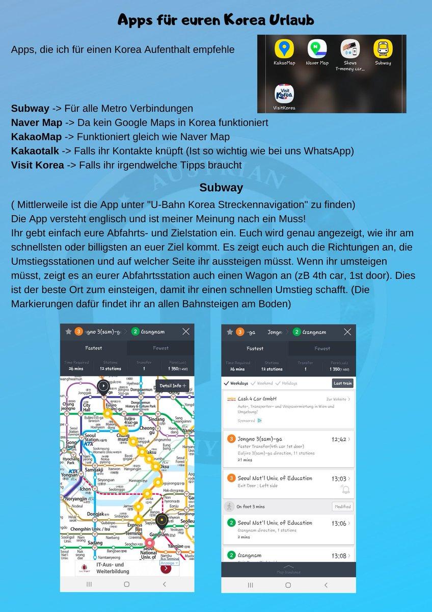 Dies ist vielleicht auch ein hilfreiches Thema für euch. Apps die ich in Korea verwende!  [ #visitkorea #visitseoul #southkorea ]pic.twitter.com/r1wLWyHxSJ