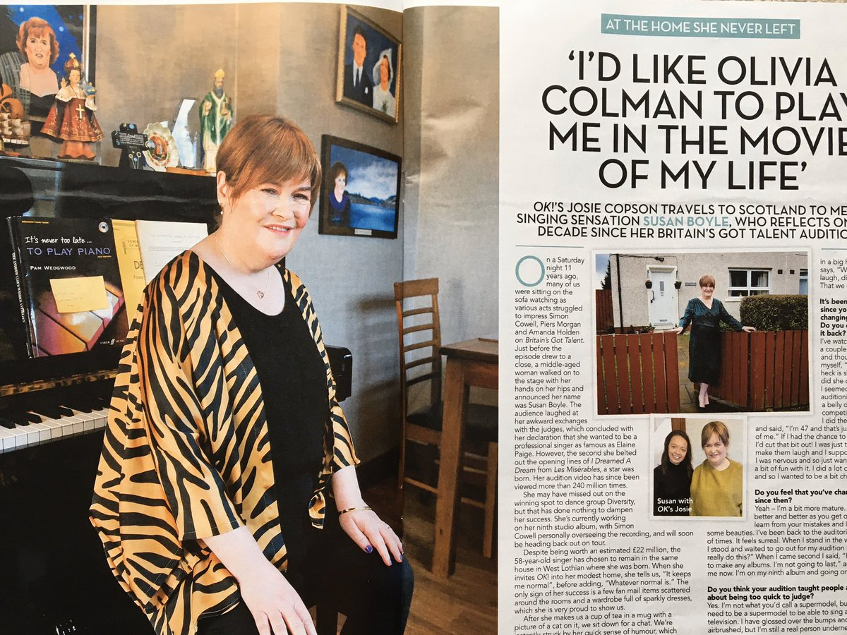 Delighted to have been part of this shoot with @SusanBoyle for  @OK_Magazine. Susan was such a cheery, relaxed person who made me so welcome  Buy a copy of the mag and take a look round her cosy house. #susanboyle #okmagazine #photographer #lovemyjob #lovepeople #scotlandpic.twitter.com/LsEgFF1yRD
