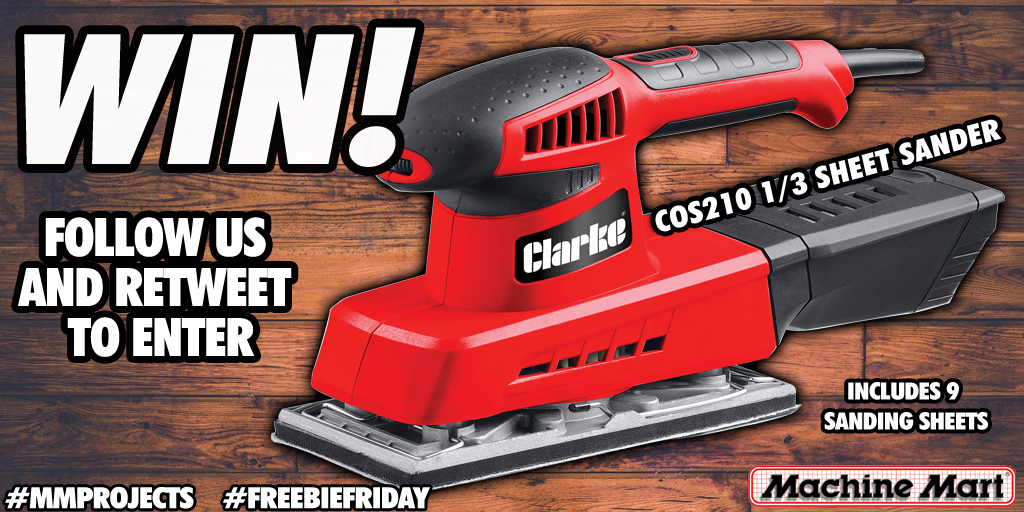Happy #FreebieFriday!! We've got a fantastic Clarke 1/3 Sheet Sander up for grabs in this week's #giveaway.  For your chance to #win, simply follow us and retweet this post, it's so easy! The #competition ends on Monday 17th February at 4pm. T's and C's apply. Good luck everyone!